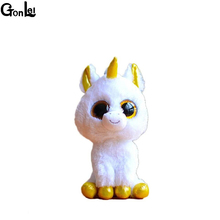 (GonLeI) Original Ty Beanie Boos Big Eyes Plush Toy Doll Colorful Rabbit Baby Kids Gift Bat 15 cm