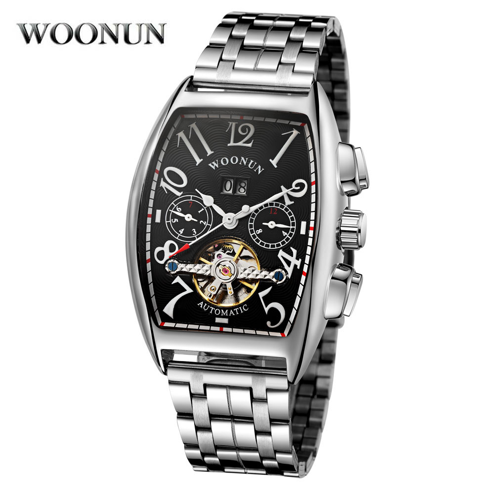WOONUN Auto Mens Wristwatch Retro Vintage Tonneau Rose Gold Case Relogio Tourbillon Male Clock Date Day Mechanical Wrist Watch<br>