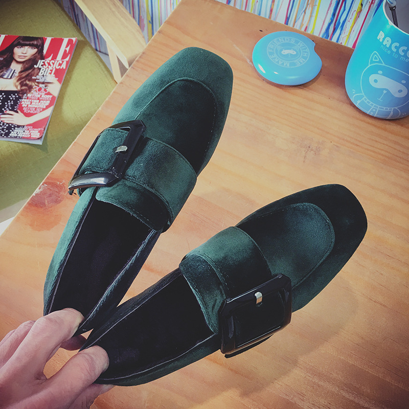 New Flock Leather Desigener Ladies Buckle Shoes Shallow Mouth Elegant Woman Fashion Medium Heel Pumps Women Stiletto Pink Green<br><br>Aliexpress