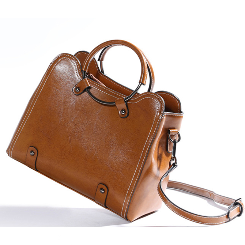 2017 The Womens Real Soft Leather Handbag Wax Fashion All-match Portable Shoulder Satchel Crossbody Ring Handbag Bags For Women<br>
