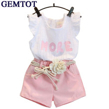 GEMTOT Baby Children Clothes Set for Girls Fly Sleeve Flower Cotton Shirt+Shorts Summer Set Sport with Belt Print Letter Clothes