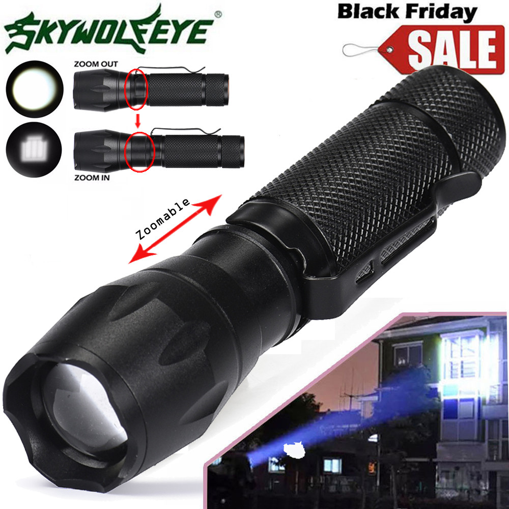 Super Bright 5000LM Q5 3 Modes Tactical LED Zoomable Flashlight Torch 14500 Clip