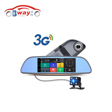 "Bway 3G Car Camera 7"" Touch screen Android 5.0 GPS car video recorder Bluetooth rearview mirror Dash Cam Dual Lens Car Dvrs"