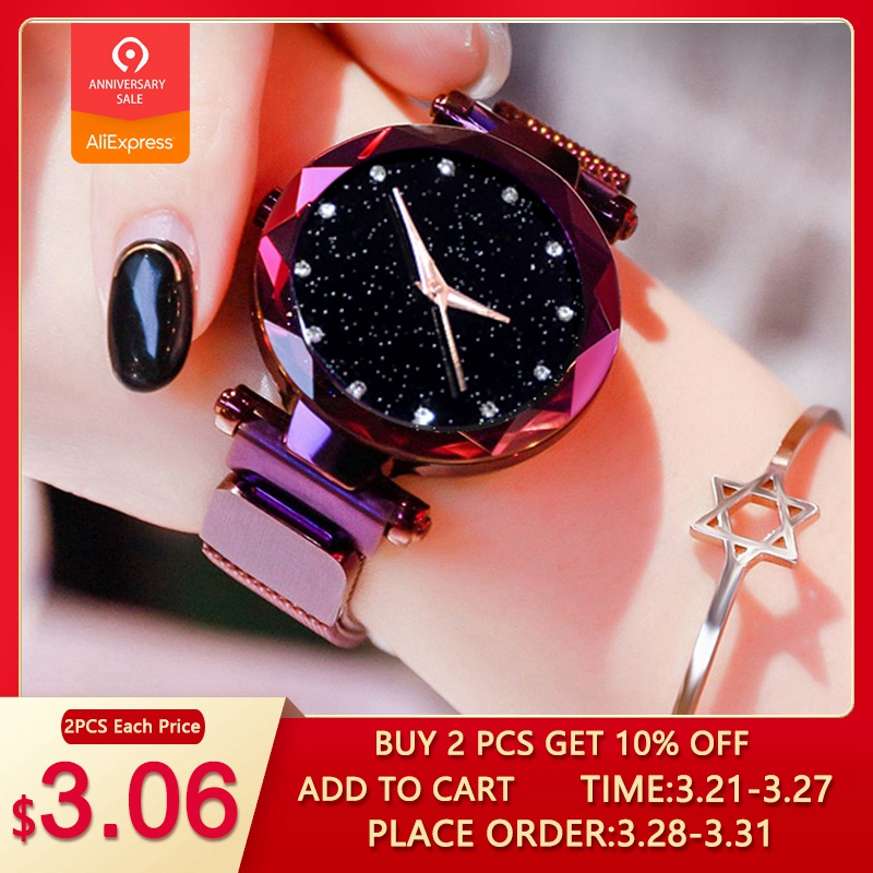 Top Brand Watches For Women Rose Gold Mesh Magnet Buckle Starry Quartz Watch Geometric Surface Casual Women Quartz Wristwatch(China)