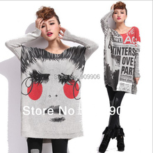 Fashion Oversized Casual Loose Sweater Tops Plus Size Knitwear Knitted Beautiful Face Newspaper Pattern Outwear
