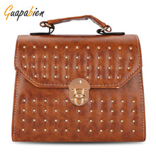 Guapabien High Quality Hard PU Leather Shoulder Bags Rivet Twist Lock Mini Tote Bag Vintage 2017 Women Small Handbag Cross Bag