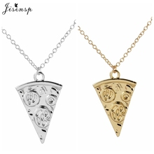 Jisensp Vintage Pizza Necklace Brass Long Chain Pizza Food Charm Pendant Statement Necklace Sweater Chain Best Friends Gift N190(China)