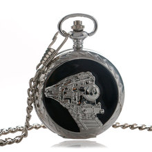 Silver Pocket Watches Stainless Steel Railway Pocket Watch Train Silver Pendant Men Gift Necklace Fob Watches