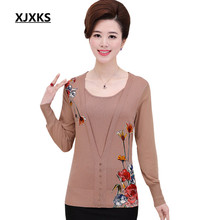 XJXKS 2017 spring and summer fashion printing women's shirt knitted Bottom Comfortable fabrics pullover loose large yards S-3XL