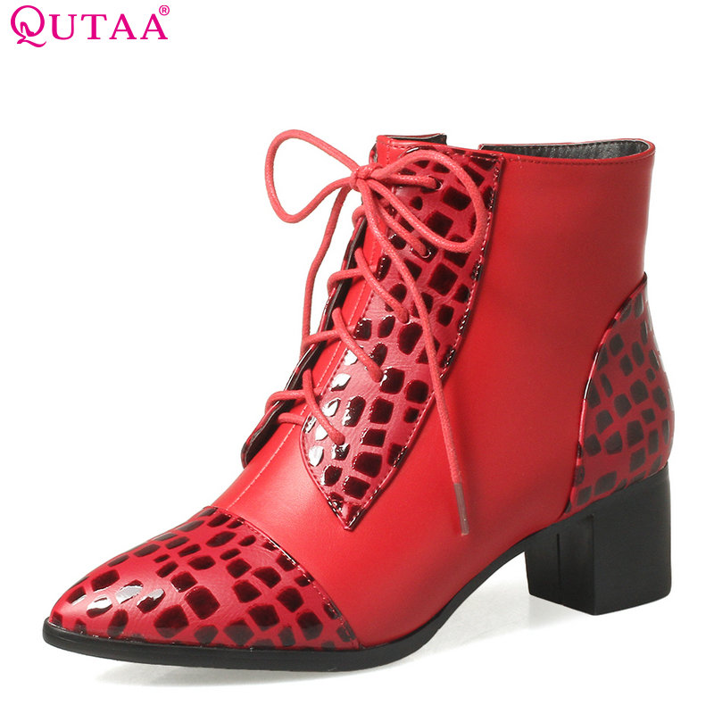 QUTAA 2018 Women Fashion Ankle Boots Pu Leather Square Mid Heel Pointed Toe All Match Lace Up Ladies Motorcycle Boots Size 33-43<br>