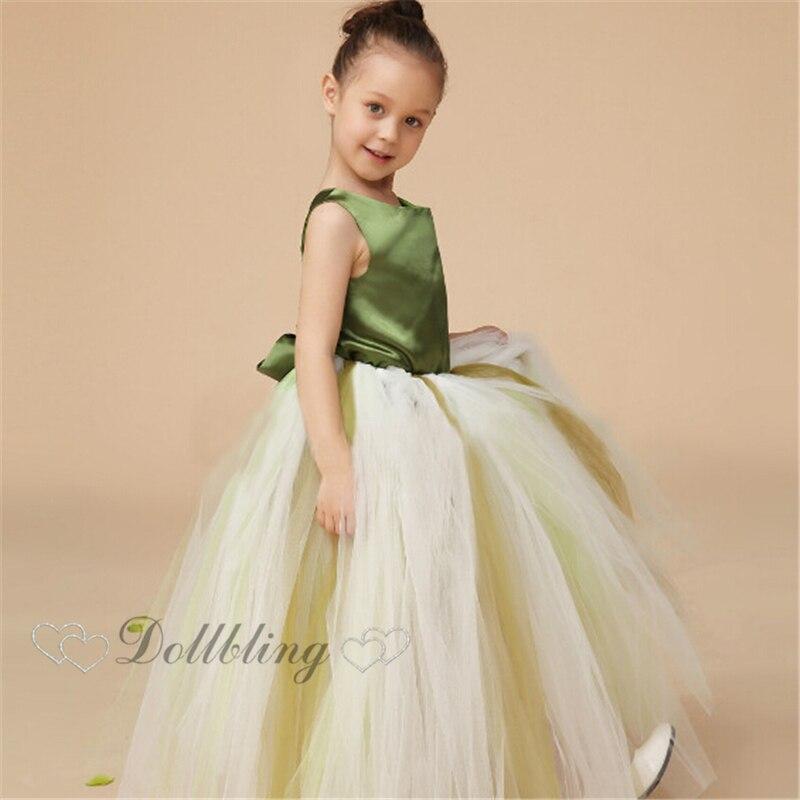 Ellie Bridal Outfit First communion Green Satin back Ribbon Graduation Ball dance flower girl dress fairy posh dress<br>