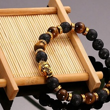 Fashion Men Lava Stone Skull Head Buddha Beaded Rock Elastic Bracelet Bangle Sales Well