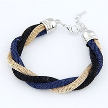 B301 Twisted Bracelet Designer Jewelry Elegant Color Alloy Cuff Bracelet and Bangles Costum Jewelry(China)