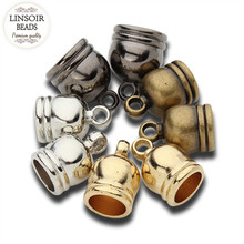 LINSOIR 50pcs CCB End Caps Clasps Fit 6 7 8 9 12mm Leather Cord Gold/Gunmetal Color Crimp Beads for DIY Jewelry Findings F1016