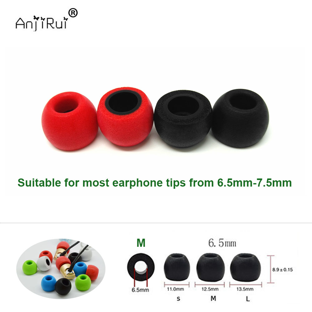 2pcs /1pair.ANJIRUI TS400 M 6.5mm 12.5mm insulation foam tips for in-ear earphone headset earphones enhanced bass C set Ear Pads(China)