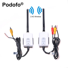 Podofo 2.4GHz Wireless AV Cable Transmitter & Receiver for Truck Bus Rearview Backup Camera DVD Player Video Parking Monitor Kit