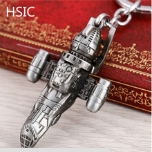 HSIC Dropshipping Movie Star War Spaceship Alloy Key Chain Fashion High-quality Black Rocket Personal Key Chains(China)