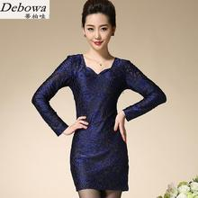 Debowa otoño madre dress 2017 nuevo bordado vestidos de manga larga con cuello en v mujeres dress hermosa china estilo ancianos slim dress