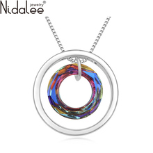 Nidalee 2017 Metal Circle Pendant Maxi Necklaces For Women Crystal From Swarovski Statement Necklaces Party Wedding Jewelry Gift