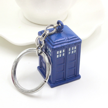 High Quality Doctor Who Blue Enamel TARDIS Police Box Keychain For Mens United Kingdom TV Jewelry Key Chains Ring Free Shipping