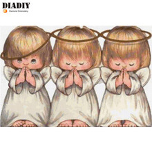 DIADIY Round diamond embroidery Three little angel needlework cross stitch round resin full diamond painting wall picture(China)