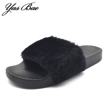 Fashion mule femme lady brand designer flat flip flops sandals thong sandle slide fuzzy home fur slipper Sandalia shoe for women