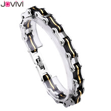 "2017 JOVIVI Newest Men Women Solid Stainless Steel Unisex Bracelet Bike Chain Wide Motorcycle Heavy Bangle Bracelet Jewelry 8.8""(China)"
