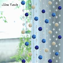 1PC Sepak Takraw Bead Crystal Glass Curtain Living Room Bedroom Window Door Decor Wedding bedroom curtains for living room (China)
