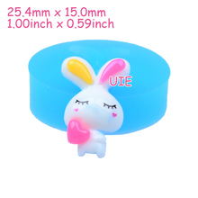 DYL254U 25.4mm Rabbit / Bunny with Heart Silicone Mold - Animal Mold Cake Decoration, Fondant, Cabochon Candy, Resin, Cookie