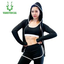 Vansydical Yoga Tops Women's Sport Hoodies Long Sleeve Fitness Sportswear Running Quick Dry Breathable Training Yoga Shirts(China)