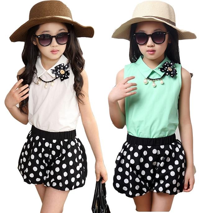 Childrens clothing female child summer child 2015 vest and polka dot shorts fashion set kids clothes female big girls twinset<br><br>Aliexpress