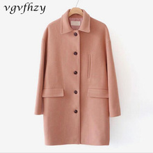 Buy women cashmere coat 2017 New woolen coat woman jacket winter overcoat solid clothes Woollen coat female long Fashion Women Coat for $57.14 in AliExpress store
