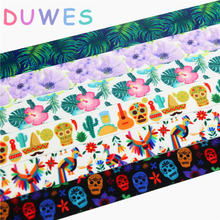 DUWES 7/8'' Free shipping mexico skull flowers coco printed grosgrain ribbon Accessory hairbow headwear DIY decoration 22mm D739