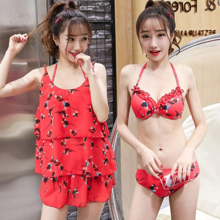 VICKI Swimsuit Women 2017 New Floral Bikini Split Three-piece Swimwear<br><br>Aliexpress