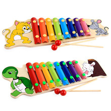 Baby Children's Early Education Cartoon Turtle Rabbit 8 Key Notes Toys Wooden Hand Knock Piano Music Instrument Toy