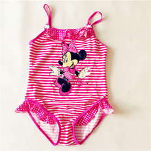 Girls One Pieces Swimwear Minnie Mouse swimsuit Kids Ruffled Red Swimming Suit For Girls Children Bathing Suit Summer Beachwear(China)