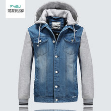 Autumn Men's Denim Jacket Mens Casual Hooded Sweatshirt Sleeve Jeans Jacket Outerwear Men Jeans Clothes(China)