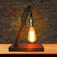 Vintage Loft E27 AC 110V/220V Dimmable Wood Table Lamp Light For Living Room Bedroom Bedside Home Decor Coffee Shop