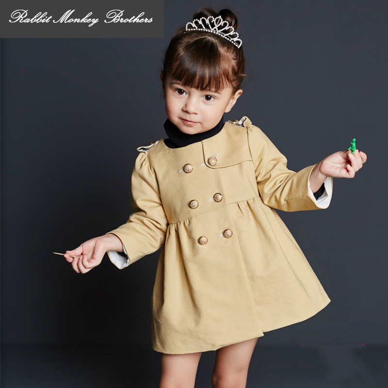 RMBkids  spring and Autumn girls windbreaker British style Double-breasted baby girl coat  3 colors Outerwear<br>