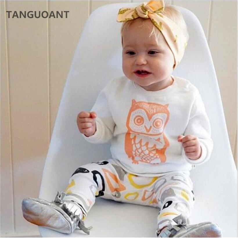 TANGUOANT hot sale baby girl clothes set Long sleeve T shirt + pants owl pattern baby clothing set newborn baby costume bebes(China (Mainland))