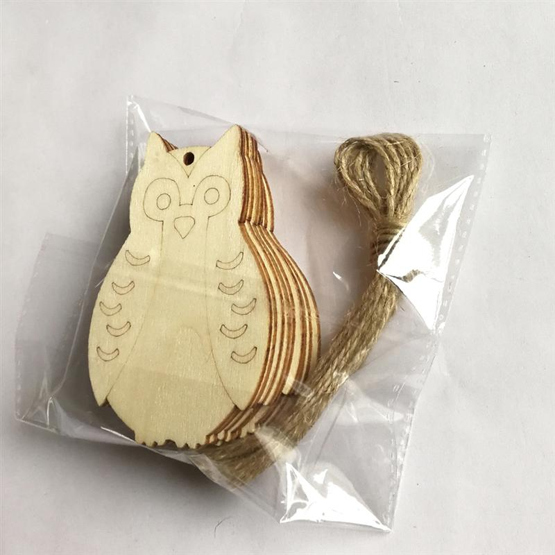10pcs Unfinished Wood Owl Anchor Cutout Shapes with Hole /& Jute String DIY Craft