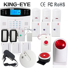 Russian/Italian/Czech gsm home alarm system wireless outdoor strobe siren alarm systems security home panic button PIR motion