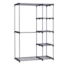 YOUUD Double Rod Closet Portable Wardrobe Storage Organizer Free-standing Sliver Garment Rack with Metal Tubes and Resin Frame(China)