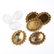 5Sets Alloy Cabochon & Rhinestone Settings and 40x30mm Oval Clear Glass Covers Sets, Lead Free & Nickel Free, Antique Golden,
