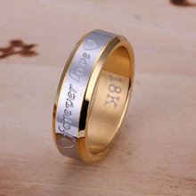 gold color jewelry Women's rings engagement wedding Bridal jewelry Forever Love Ring-For Men couple rings for lovers R095(China)