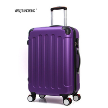 28 inch Classic striped patch Trolley suitcase/rolling spinner wheels Pull Rod luggage/Women Girl traveller case boarding bag(China)