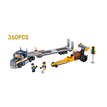 Hot high speed racing dragster transport building block Racer figures bricks compatible lego60151 city toys for boys gifts
