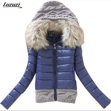1PC Winter Jacket Women Winter Coat Cotton Padded Short Jackets Knitted Hood Fur Collar Chaquetas Mujer Jaqueta Feminina Z005