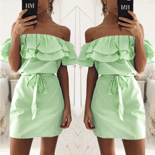 2017 new summer mini dress sleeveless off the suoulder ruffled beach casual dress female Elegant belt Vestidos OYDDUP42