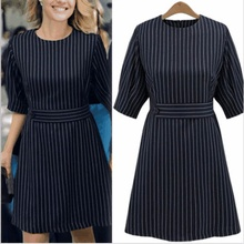 Navy Blue Striped Dress Women Office Wear Professinal Dress XL,2XL,3XL,4XL,5XL Female Summer Wear Star Style One-piece Dress(China)